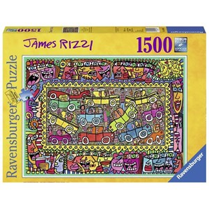 """Ravensburger (16356) - James Rizzi: """"We are on our way to your party"""" - 1500 pieces puzzle"""