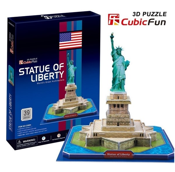 """Cubic Fun (C080H) - """"Statue of Freedom"""" - 39 pieces puzzle"""