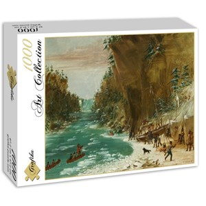"""Grafika (02225) - George Catlin: """"The Expedition Encamped below the Falls of Niagara. January 20, 1679, 1847-1848"""" - 1000 pieces puzzle"""