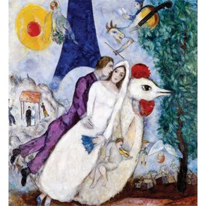 """Puzzle Michele Wilson (A956-250) - Marc Chagall: """"The Bridal Pair with the Eiffel Tower"""" - 250 pieces puzzle"""