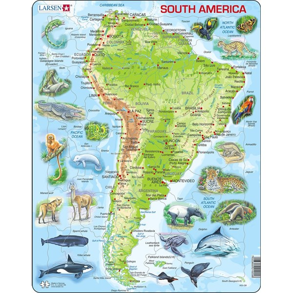 "Larsen (A25-GB) - ""South America"" - 65 pieces puzzle"