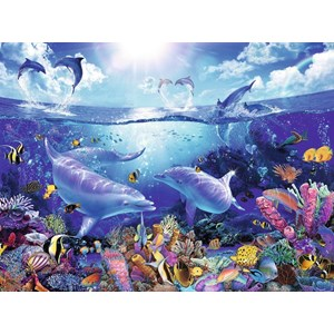 """Ravensburger (16331) - Christian Riese Lassen: """"Day of the Dolphins"""" - 1500 pieces puzzle"""