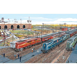 """SunsOut (49490) - Larry Fisher: """"Pennsy Lineup"""" - 1000 pieces puzzle"""