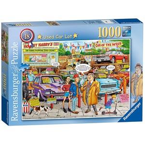 "Ravensburger (19692) - Geoffrey Tristram: ""#18 - Used Car Lot"" - 1000 pieces puzzle"