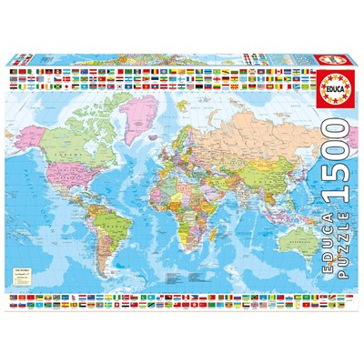 Map Of Uk 1500.Educa 17117 Political World Map 1500 Pieces Puzzle