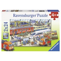 """Ravensburger (09191) - """"Busy Train Station"""" - 24 pieces puzzle"""