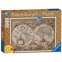"""Ravensburger (19004) - """"Print Wood, Antic Map of the World"""" - 1000 pieces puzzle"""