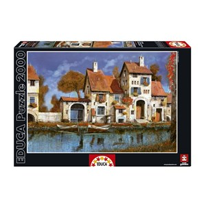 "Educa (16316) - Guido Borelli: ""La Cascina Sul Lago"" - 2000 pieces puzzle"