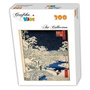 "Grafika Kids (00274) - Utagawa (Ando) Hiroshige: ""Drum bridge at Meguro and Sunset Hill, 1857"" - 300 pieces puzzle"