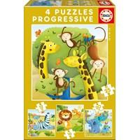 """Educa (17147) - """"Wild Animals"""" - 12 16 20 25 pieces puzzle"""
