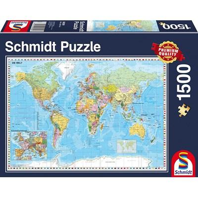Map Of Uk 1500.Schmidt Spiele 58289 World Map In German 1500 Pieces Puzzle