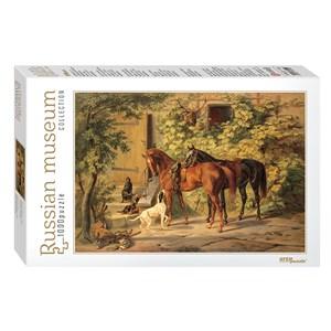 "Step Puzzle (79214) - Adam Albrecht: ""Horses at the Porch"" - 1000 pieces puzzle"