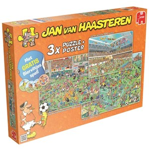"""Jumbo (19004) - Jan van Haasteren: """"Football 3 in 1"""" - 500 750 1000 pieces puzzle"""