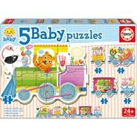 """Educa (17142) - """"Animals train"""" - 3 4 5 pieces puzzle"""