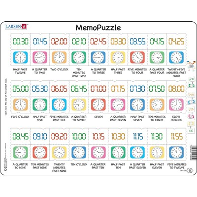 """Larsen (GP5-GB) - """"MemoPuzzle, The time by text, traditional- and digital clock"""" - 54 pieces puzzle"""