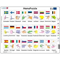 "Larsen (GP2-DE) - ""MemoPuzzle, Names, flags and capitals of 27 EU member states (in German)"" - 54 pieces puzzle"
