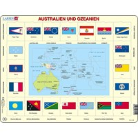 "Larsen (KL5-DE) - ""Map/Flag, Australia and Oceania (in German)"" - 35 pieces puzzle"