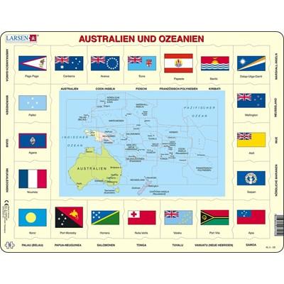 "Larsen (KL5-DE) - ""Map/Flag, Australia and Oceania (in German)"" - 35 pieces puzzle"