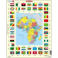 "Larsen (KL3-DE) - ""Map/Flag, Africa (in German)"" - 70 pieces puzzle"