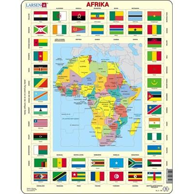 """Larsen (KL3-DE) - """"Map/Flag, Africa (in German)"""" - 70 pieces puzzle"""