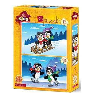"""Art Puzzle (4489) - """"The Penguins"""" - 12 24 pieces puzzle"""