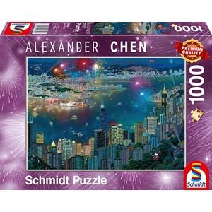 "Schmidt Spiele (59650) - Alexander Chen: ""Fireworks over Hong Kong"" - 1000 pieces puzzle"