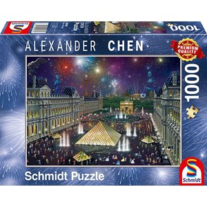 "Schmidt Spiele (59648) - Alexander Chen: ""Fireworks at the Louvre"" - 1000 pieces puzzle"