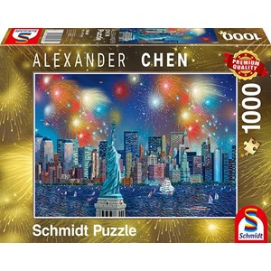 """Schmidt Spiele (59649) - Alexander Chen: """"Statue of Liberty with Fireworks"""" - 1000 pieces puzzle"""
