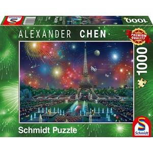 "Schmidt Spiele (59651) - Alexander Chen: ""Fireworks at the Eiffel Tower"" - 1000 pieces puzzle"