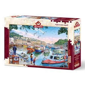 """Art Puzzle (4231) - """"The Little Fishermen at the Harbour"""" - 1000 pieces puzzle"""