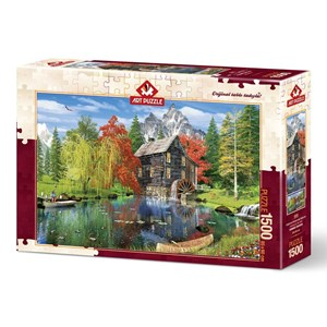 """Art Puzzle (4550) - """"Fishing by the Mill"""" - 1500 pieces puzzle"""