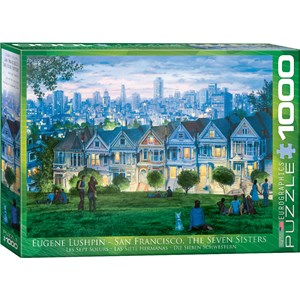 """Eurographics (6000-0958) - Eugene Lushpin: """"San Francisco, The Seven Sisters"""" - 1000 pieces puzzle"""