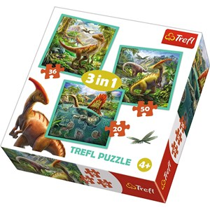 "Trefl (34837) - ""The extraordinary world of dinosaur"" - 20 36 50 pieces puzzle"