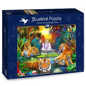 "Bluebird Puzzle (70155) - Jan Patrik Krasny: ""Family at the Jungle Pool"" - 1000 pieces puzzle"