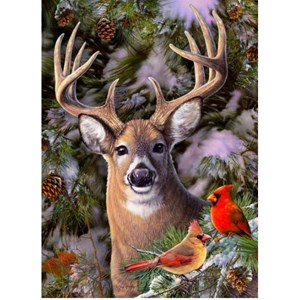 """Cobble Hill (85014) - Greg Giordano: """"One Deer Two Cardinals"""" - 500 pieces puzzle"""
