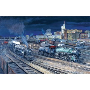 """SunsOut (49435) - Larry Fisher: """"Night Activity at th S.P.U.D."""" - 1000 pieces puzzle"""