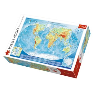 """Trefl (45007) - """"Physical Map of the World"""" - 4000 pieces puzzle"""