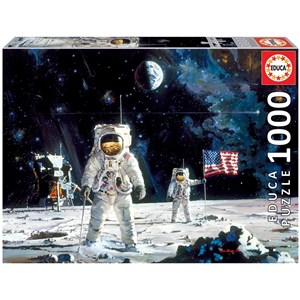 """Educa (18459) - Robert McCall: """"First Men on the Moon"""" - 1000 pieces puzzle"""