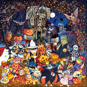 """SunsOut (21893) - Bill Bell: """"Cats and Dogs on Halloween"""" - 500 pieces puzzle"""