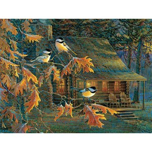 """SunsOut (29034) - Sam Timm: """"Cabin Chickadees"""" - 500 pieces puzzle"""