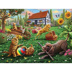 "SunsOut (51836) - Adrian Chesterman: ""Dogs and Cats at Play"" - 500 pieces puzzle"