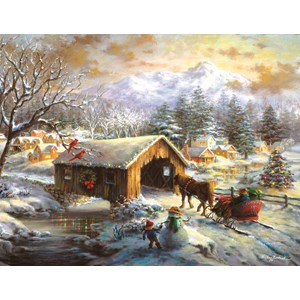 """SunsOut (19319) - Nicky Boehme: """"Over the Covered Bridge"""" - 1000 pieces puzzle"""