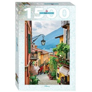 """Step Puzzle (83065) - """"Street view in Bellagio and lake Como, Italy"""" - 1500 pieces puzzle"""