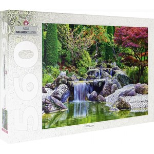 """Step Puzzle (78103) - """"Waterfall At Japanese Garden, Bonn, Germany"""" - 560 pieces puzzle"""