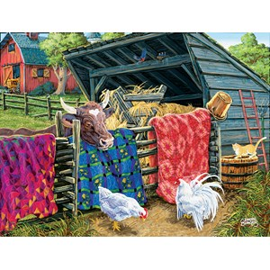 "SunsOut (38946) - Joseph Burgess: ""Quilt Cow"" - 300 pieces puzzle"
