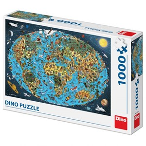 """Dino (53281) - """"Illustrated World Map"""" - 1000 pieces puzzle"""