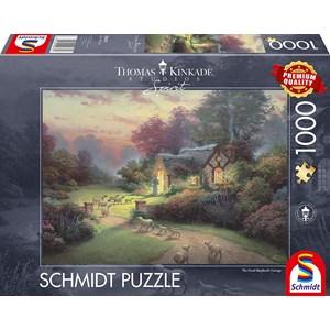 """Schmidt Spiele (59678) - Thomas Kinkade: """"Spirit, Cottage of the Good Shepherd"""" - 1000 pieces puzzle"""