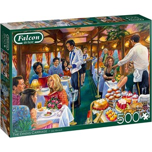 """Jumbo (11328) - Jim Mitchell: """"The Dining Carriage"""" - 500 pieces puzzle"""