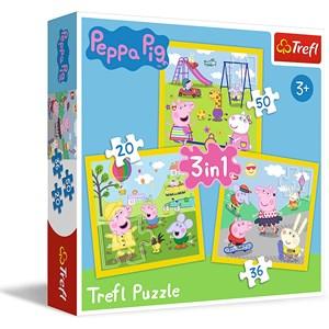 "Trefl (34849) - ""Peppa's happy day, Peppa Pig"" - 20 36 50 pieces puzzle"