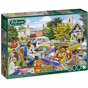 "Falcon (11301) - Trevor Mitchell: ""Village Church Car Boot Sale"" - 500 pieces puzzle"